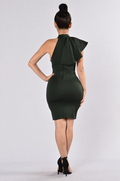 Ruffle Butter Dress - Hunter Green