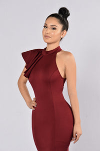 Ruffle Butter Dress - Wine