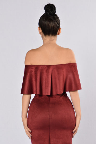 Open Your Eyes Dress - Burgundy