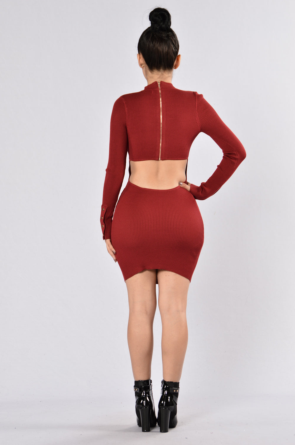 Hole In My Heart Dress - Burgundy