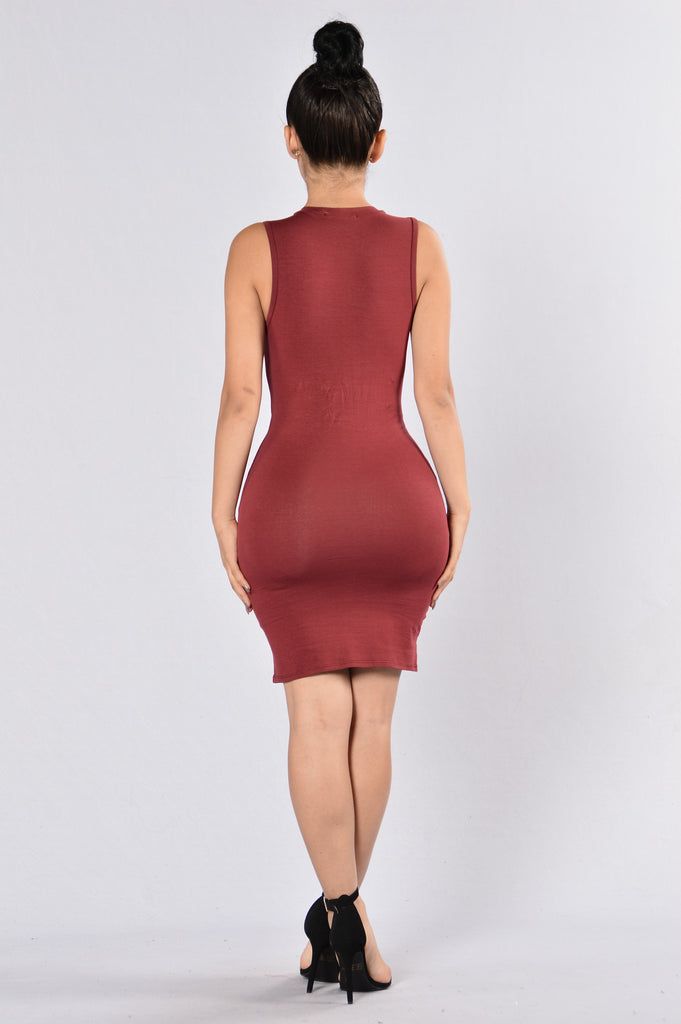 Knot For You Dress - Burgundy