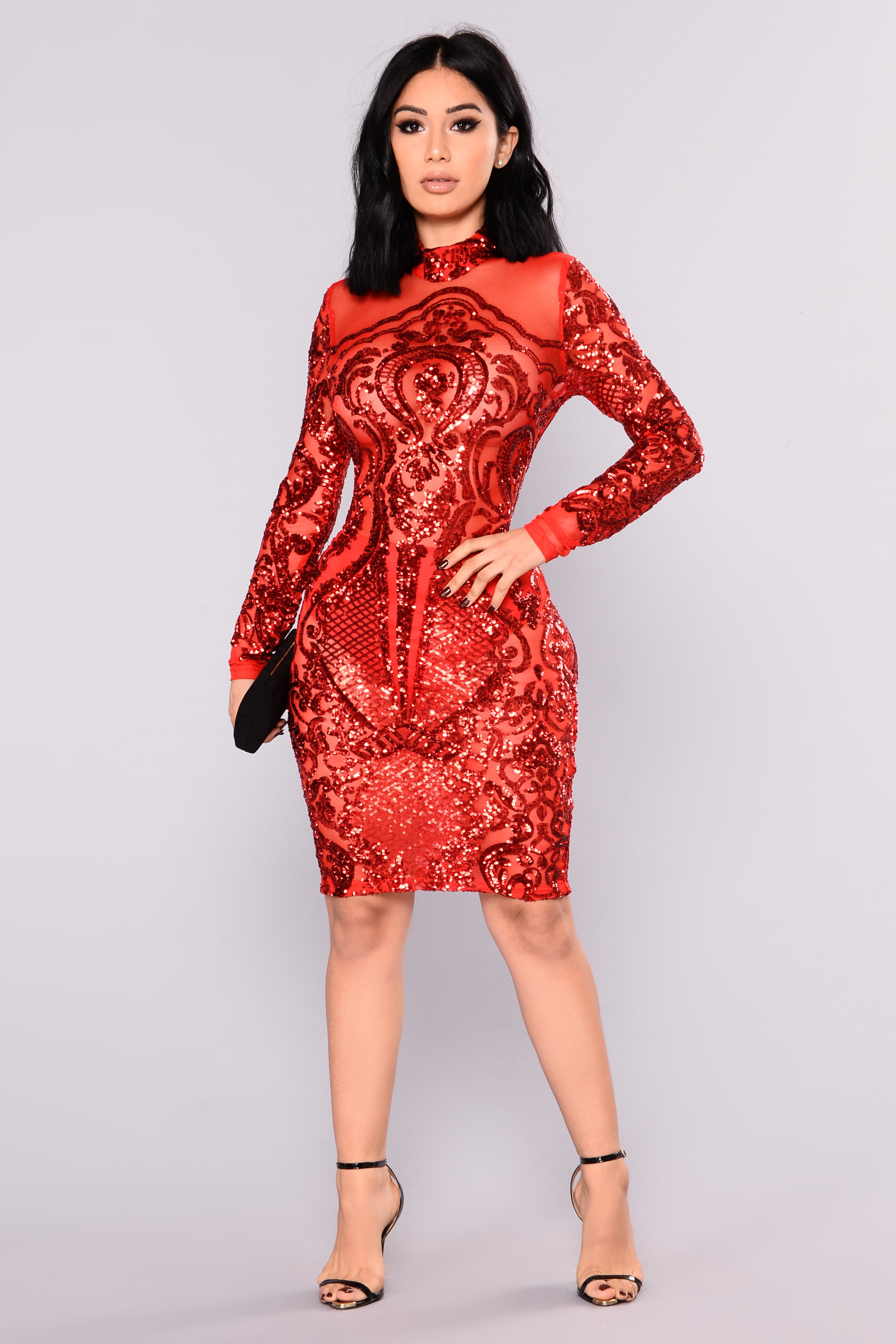 Calcy Sequin Mesh Dress - Red