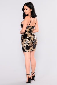 Hot Night Sequin Dress - Black/Gold