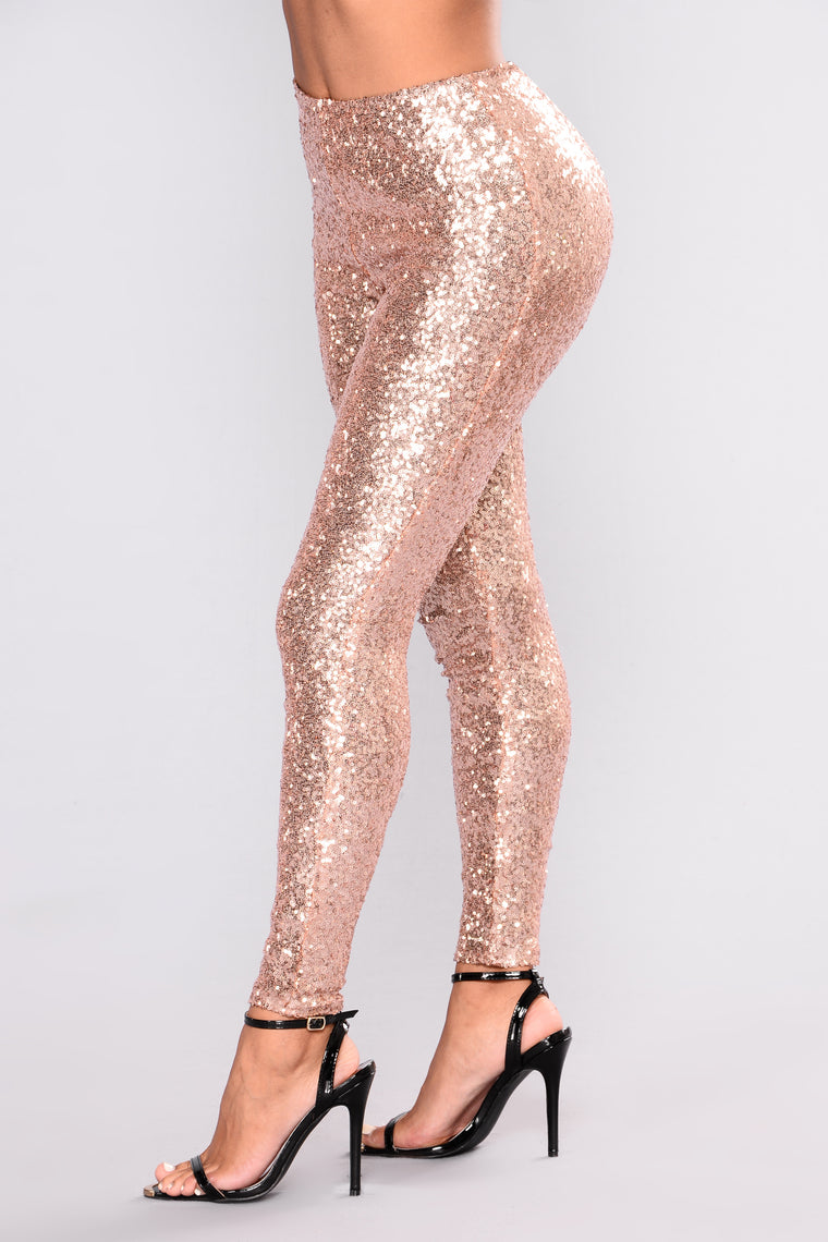 Shine Sequin Leggings - Rose Gold