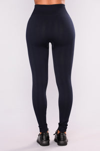 Sweater Seamless Fleece Lined Leggings - Navy