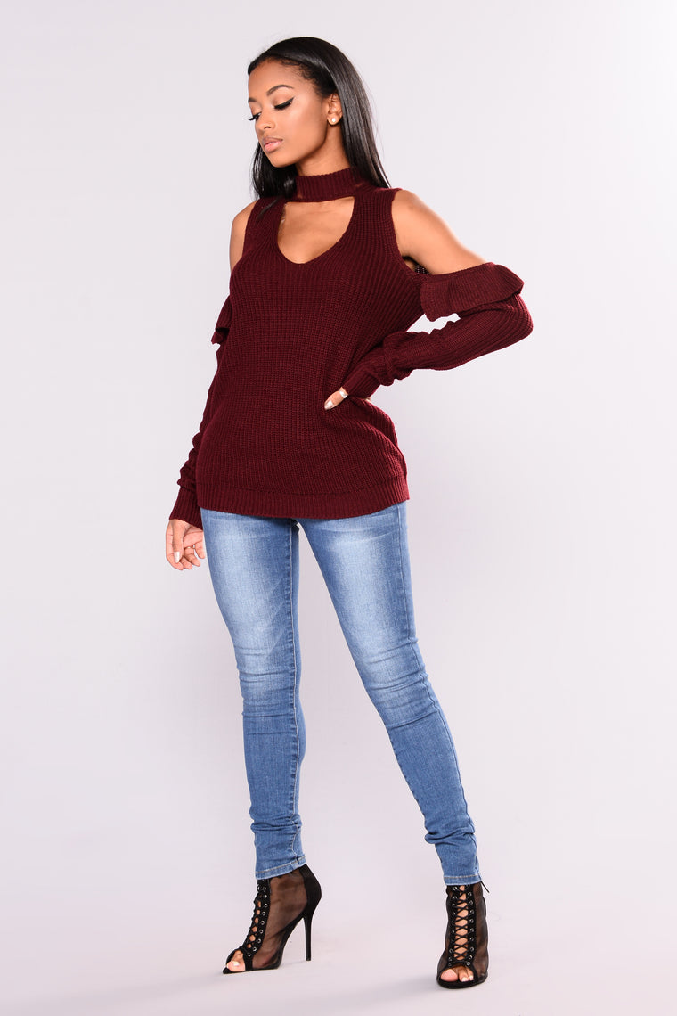 After Five Long Sleeve Sweater - Wine