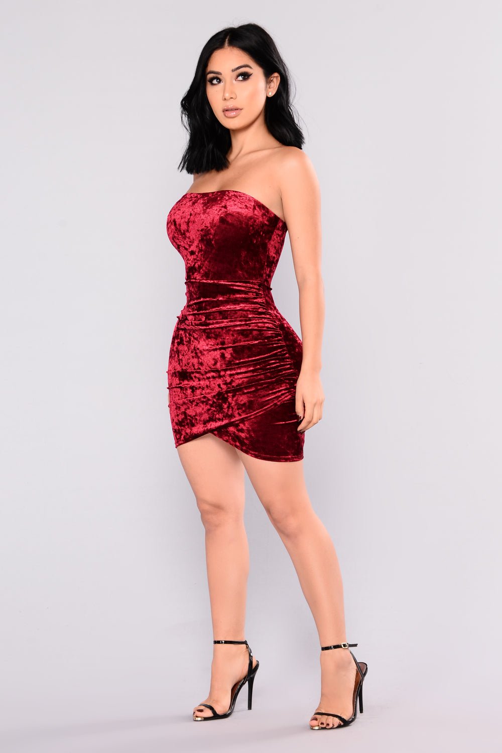 beating heart velvet dress  burgundy