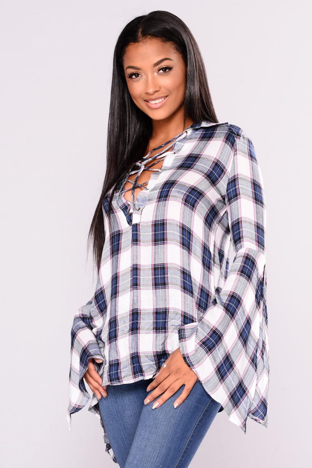School Is Out Plaid Top - Blue