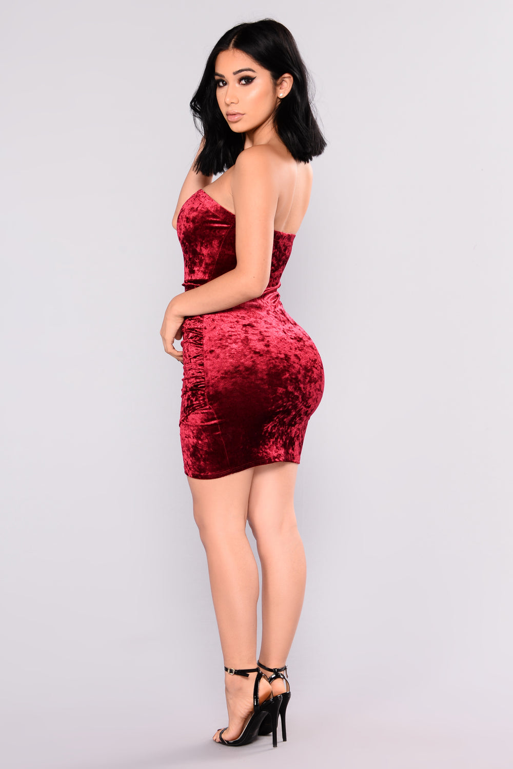 Beating Heart Velvet Dress - Burgundy