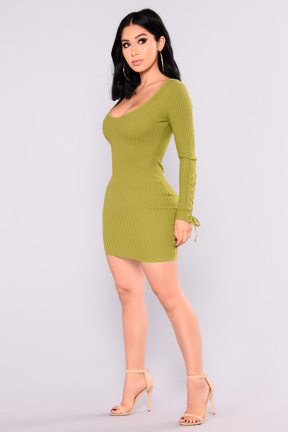 Mariana Lace Up Dress - Green