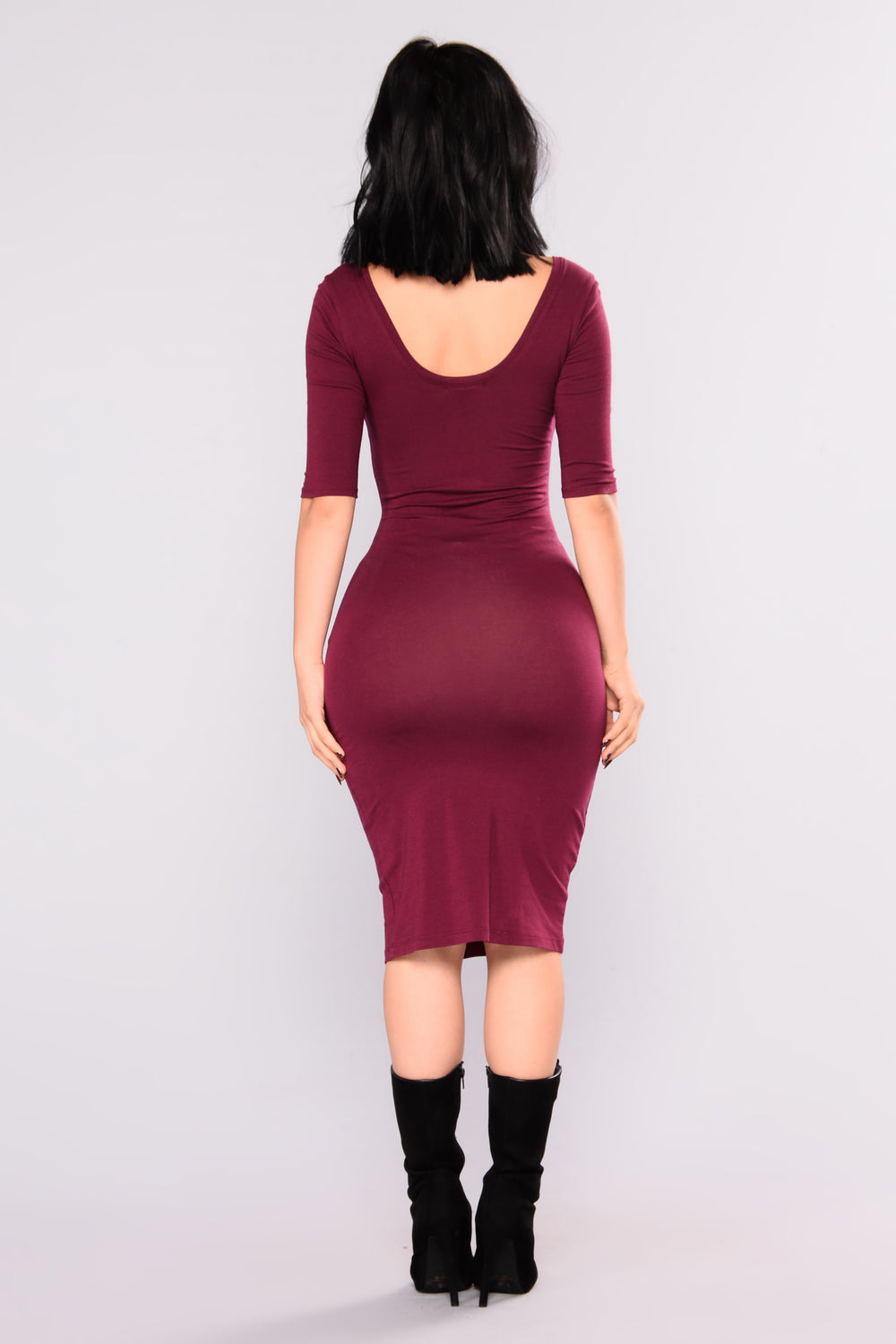 Nataly Midi Dress - Wine