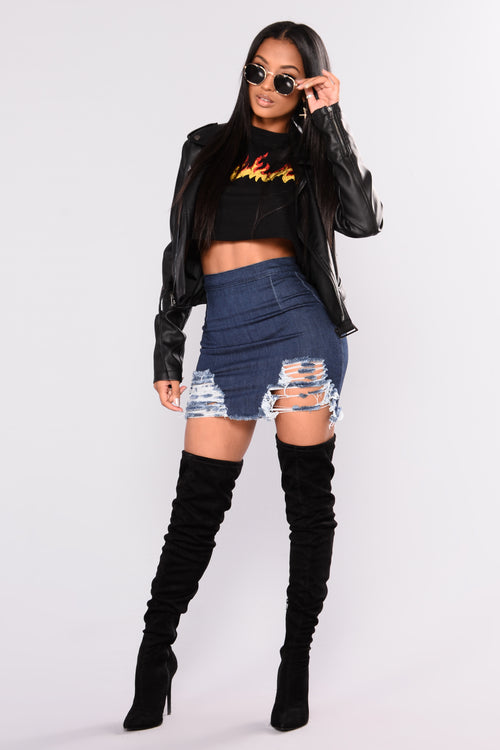 Rags To Riches Denim Skirt - Dark Denim