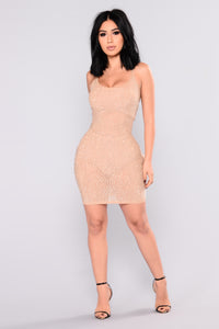 Stay Up Late Rhinestone Dress - Nude