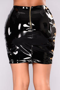 Stunner Girl Latex Skirt - Black
