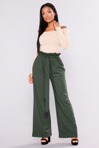 Off Duty Waist Tie Pants - Hunter Green