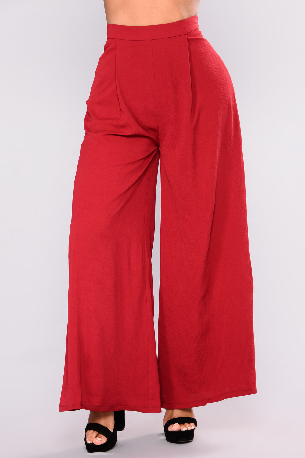 Wide Shot Wide Leg Pants - Wine
