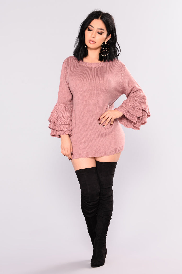 Aly Ruffle Sleeves Sweater - Mauve