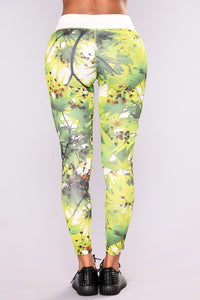 Desert Palm Active Leggings - Green/White