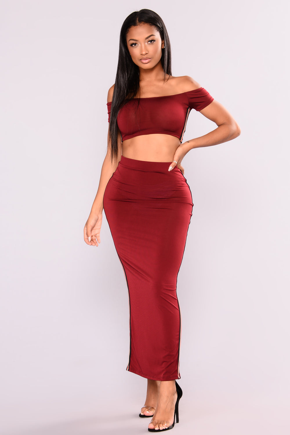 Above The Rest Skirt Set - Burgundy
