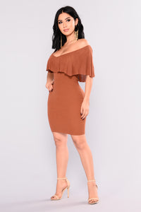 Secret Story Off Shoulder Dress - Rust
