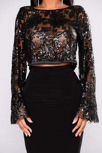 Lilly Bell Sleeve Sequin Top - Black