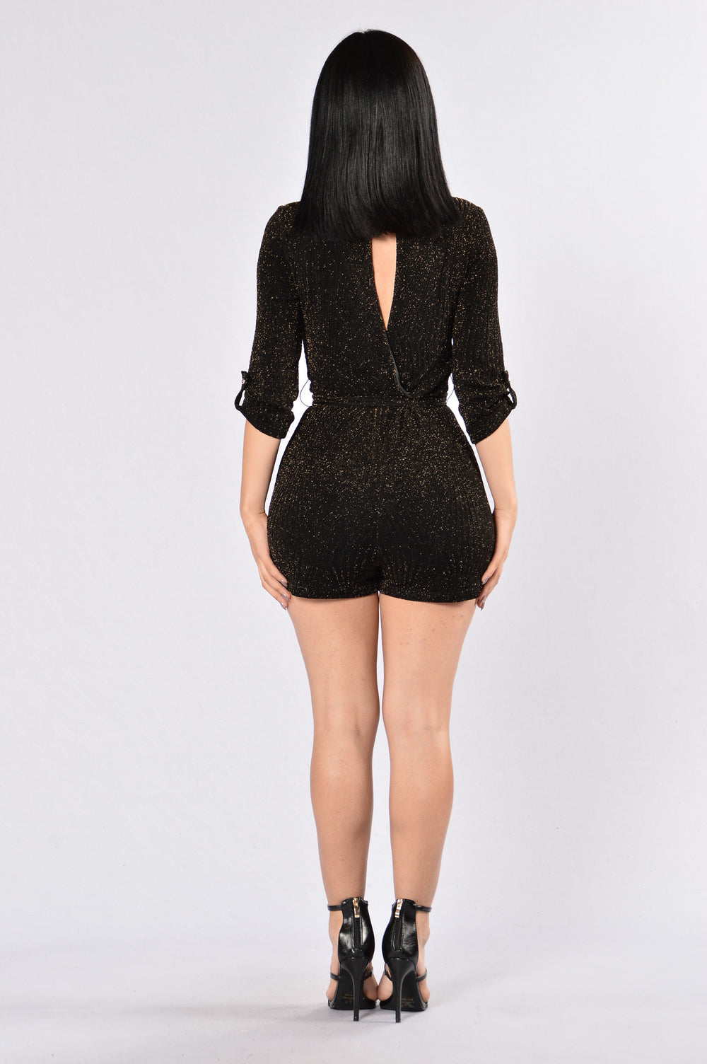 Into The Night Romper - Black/Gold