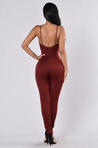 Jump To It Jumpsuit - Burgundy