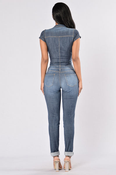 Jump Into Denim Jumpsuit - Dark Indigo