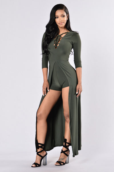 Wicked Attraction Romper - Olive