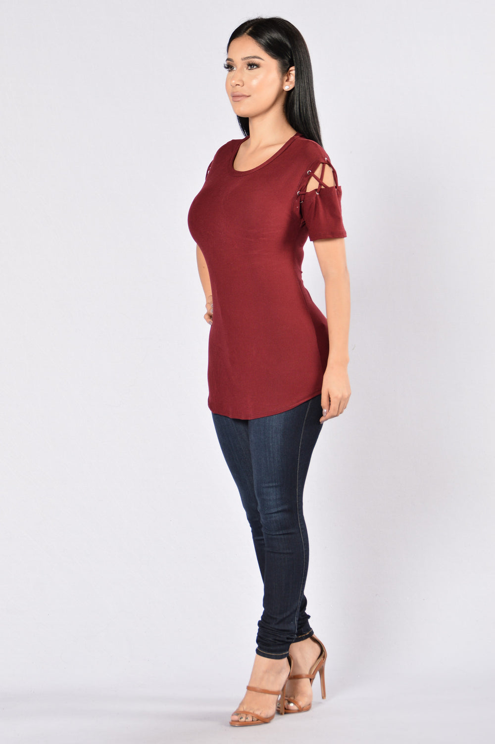 Needle and Thread Top - Burgundy
