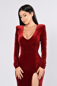 Love Sex Magic Velvet Dress - Wine
