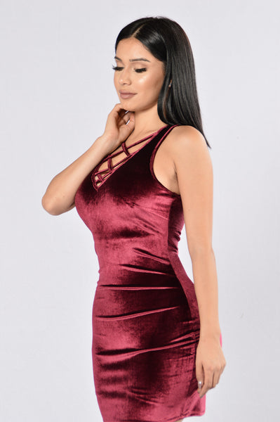In His Mind Dress - Burgundy