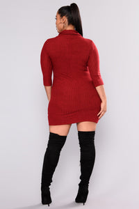 Autumn Leaves Sweater Dress - Red