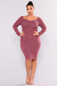 Simone Ribbed Dress - Burgundy