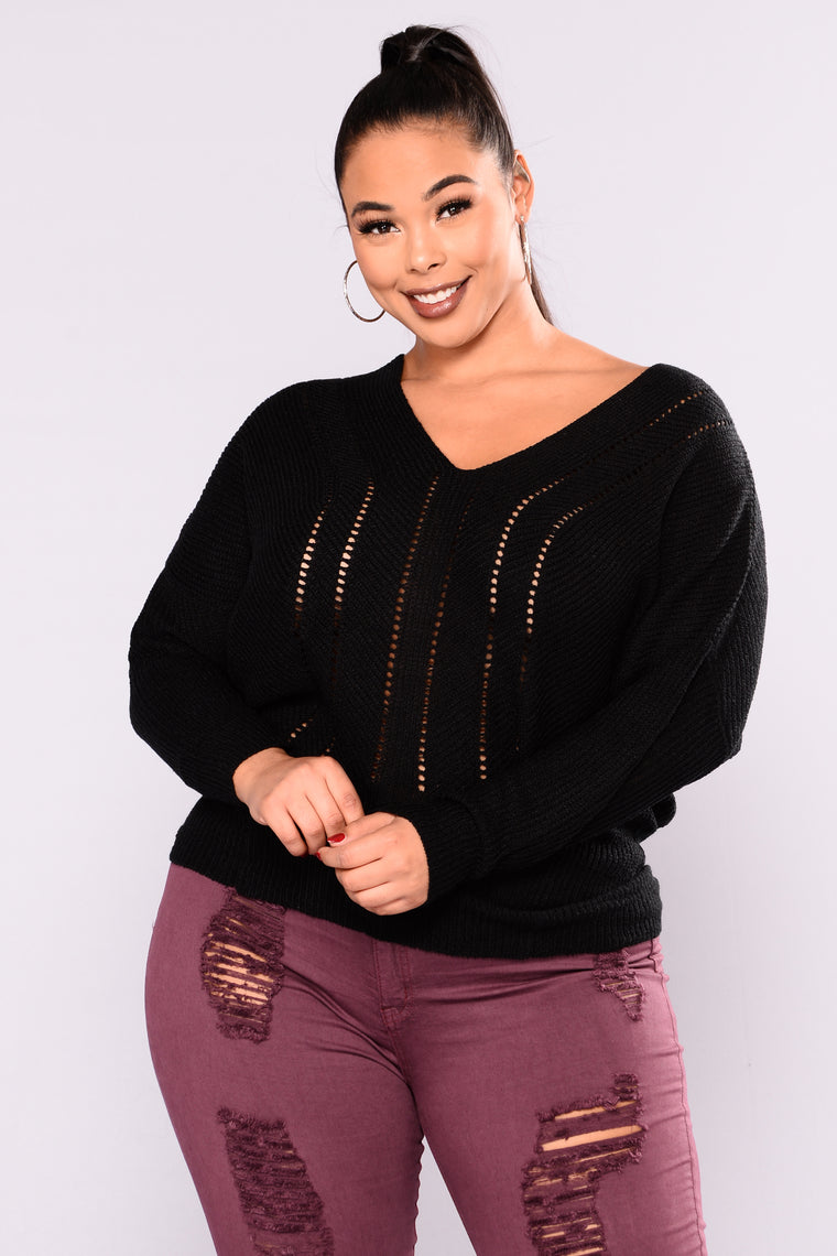 Don't Sweater It Oversized Sweater - Black