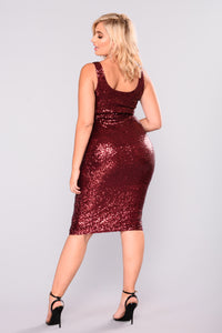 No Tomorrow Sequin Dress - Burgundy