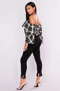 Too Cute Off Shoulder Plaid Top - Black/White