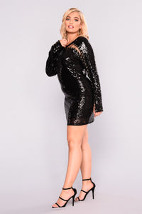 Last Friday Night Sequin Dress - Black