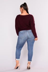 Don't Sweater It Oversized Sweater - Wine