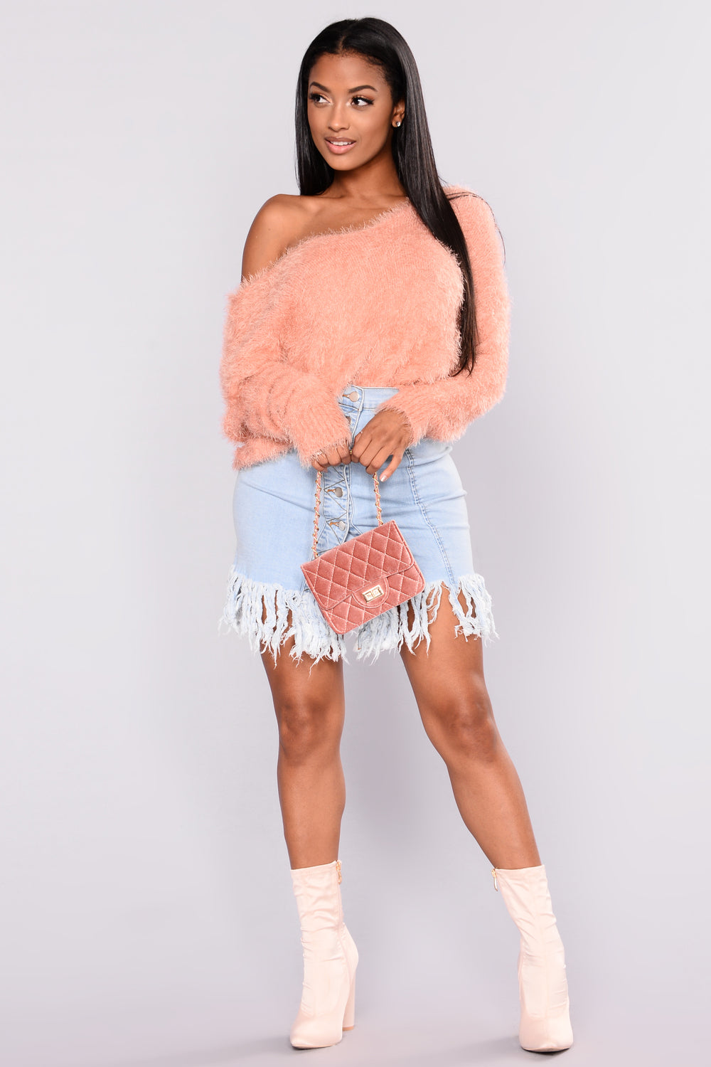 Vanity Fairest Fuzzy Sweaters - Blush