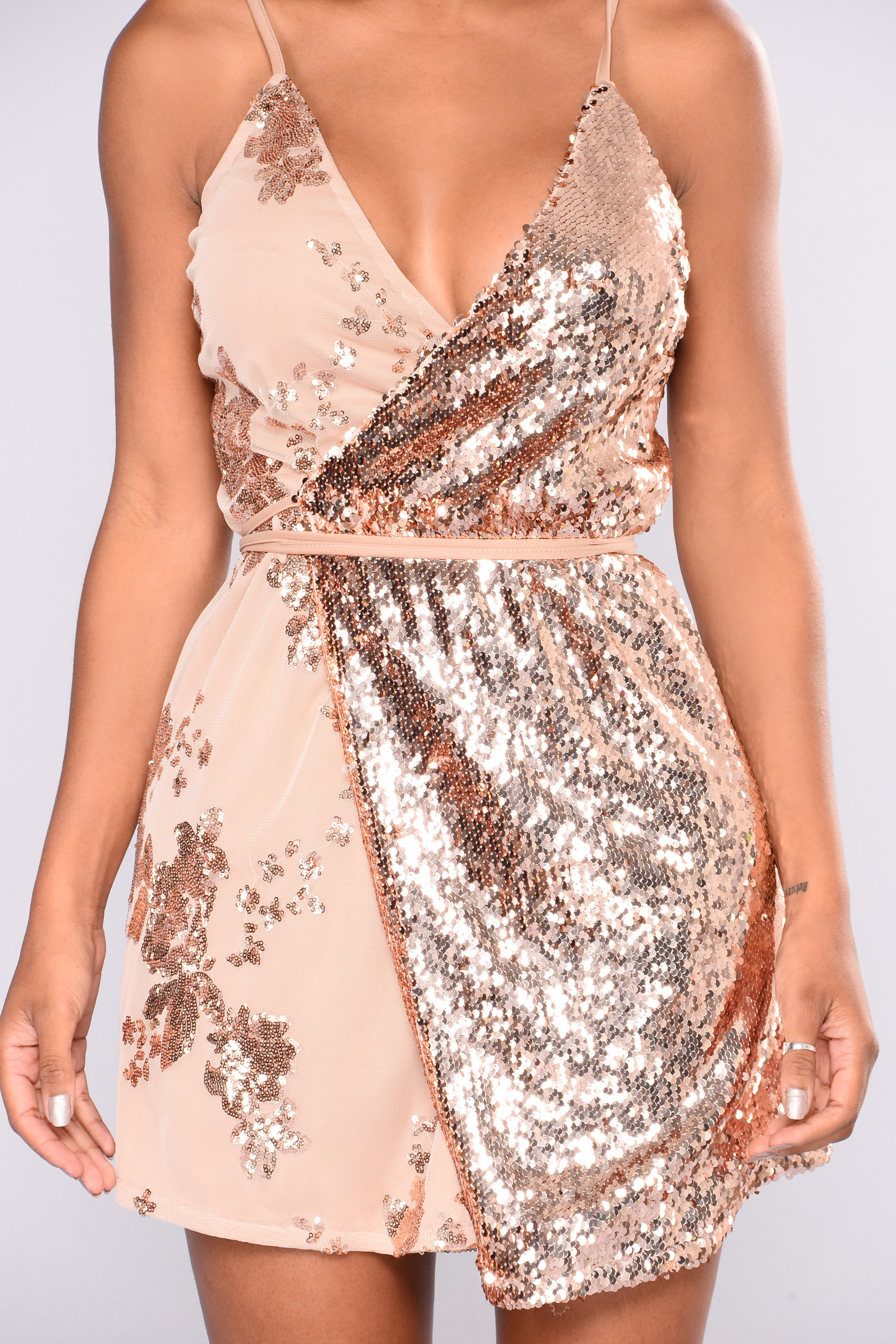 out and about sequin dress  rose gold