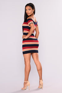 Solana Stripe Dress - Navy/Burgundy