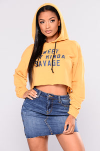 Sweet And Savage Hoodie Top - Mustard