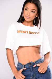 Money Moves Graphic Tee - White Angle 1