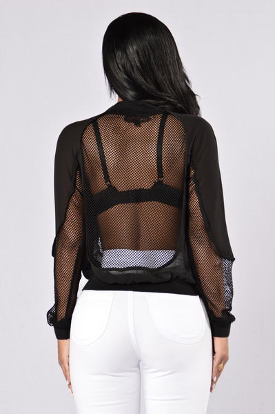 Meshed Up Bomber Jacket - Black