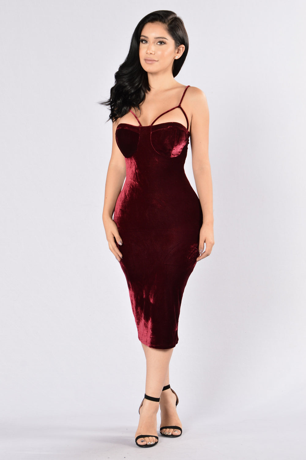 Rich Like Velvet Dress - Wine