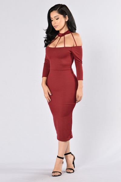 Too Toxic For Me Dress - Burgundy