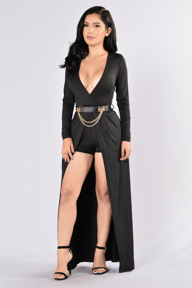 Edgy Appeal Romper - Black