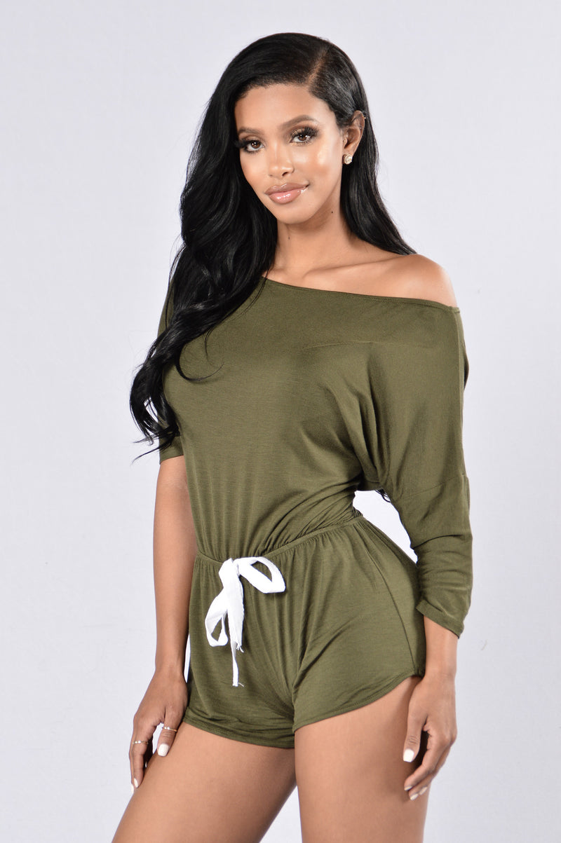 Snuggled Down Romper - Olive