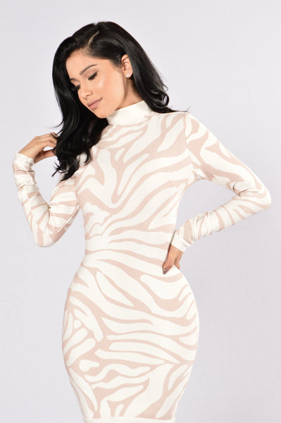 Animal Style Dress - Ivory/Mauve
